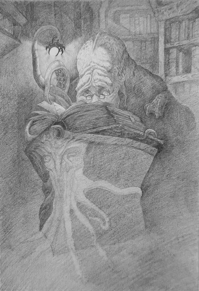 Cthulhu reads forbidden Lore - Sketch